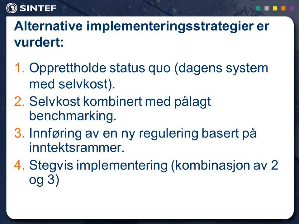 33 Alternative implementeringsstrategier er vurdert: 1.Opprettholde status quo (dagens system med selvkost). 2.Selvkost kombinert med pålagt benchmark