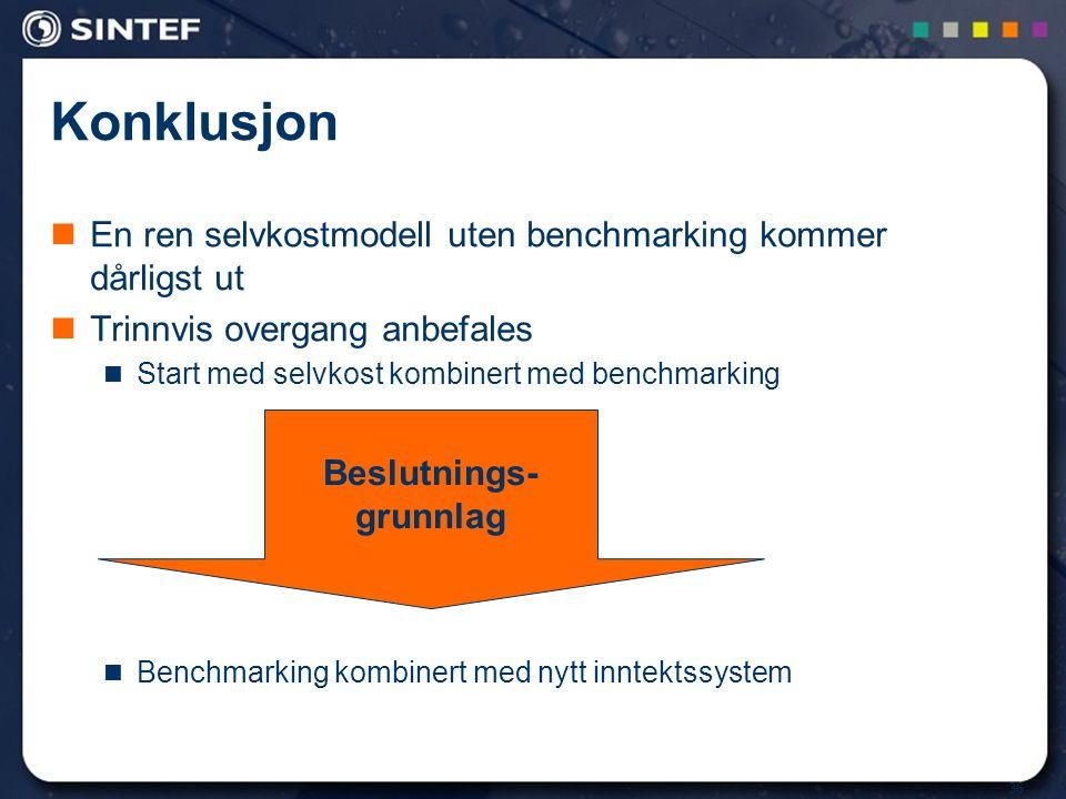 36 Konklusjon En ren selvkostmodell uten benchmarking kommer dårligst ut Trinnvis overgang anbefales Start med selvkost kombinert med benchmarking Ben