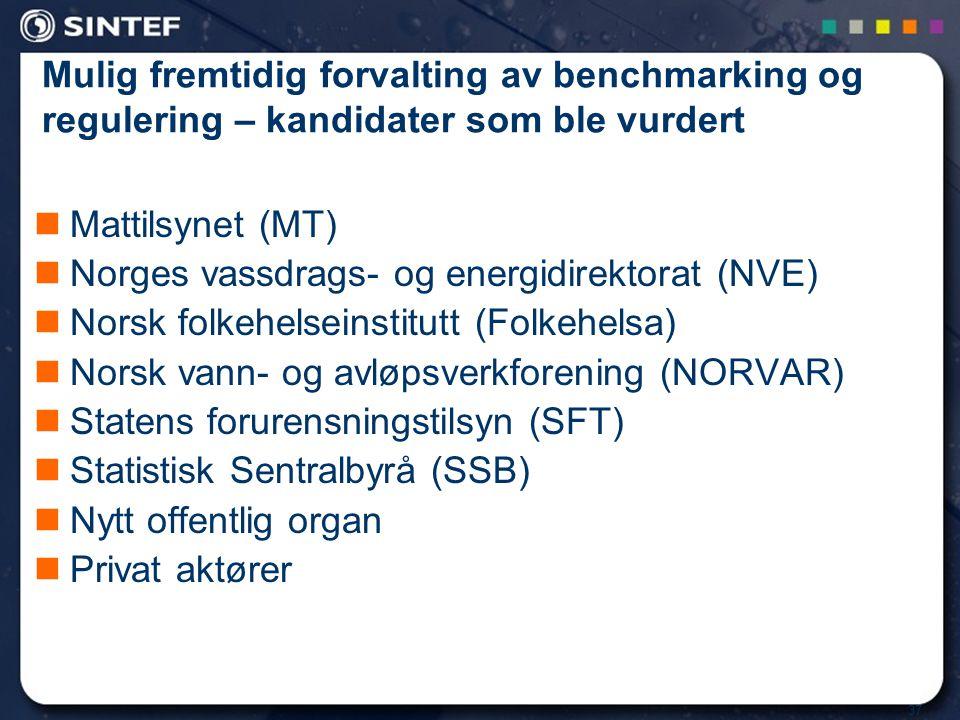 37 Mulig fremtidig forvalting av benchmarking og regulering – kandidater som ble vurdert Mattilsynet (MT) Norges vassdrags- og energidirektorat (NVE)
