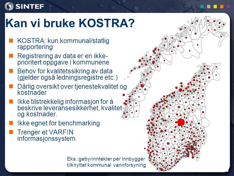 28 PI og benchmarkingsystemer i andre land, studert i VARFIN prosjektet Verdensbanken (27 PI) IWA (ca 300 PI) (ISO standardisering basert på IWA foregår) CARE-W og CARE-S (IWA-basert, Europa) ( 49 + 41 PI) OFWAT, UK (avansert PI-system) VEWIN, Holland 6 stads prosjektet, for storbyer i Norden, inkl.