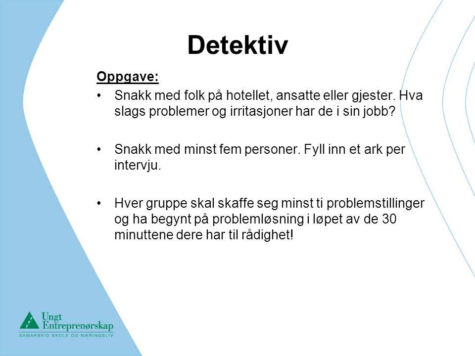Detektiv Oppgave: Snakk med folk på hotellet, ansatte eller gjester. Hva slags problemer og irritasjoner har de i sin jobb? Snakk med minst fem person