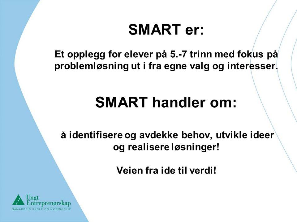 SMART er: Et opplegg for elever på 5.-7 trinn med fokus på problemløsning ut i fra egne valg og interesser. SMART handler om: å identifisere og avdekk