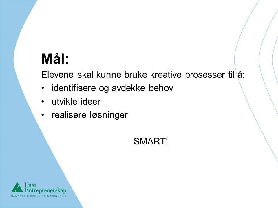 Mål: Elevene skal kunne bruke kreative prosesser til å: identifisere og avdekke behov utvikle ideer realisere løsninger SMART!