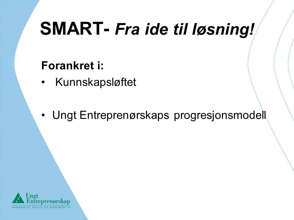 SMART- Fra ide til løsning! Forankret i: Kunnskapsløftet Ungt Entreprenørskaps progresjonsmodell