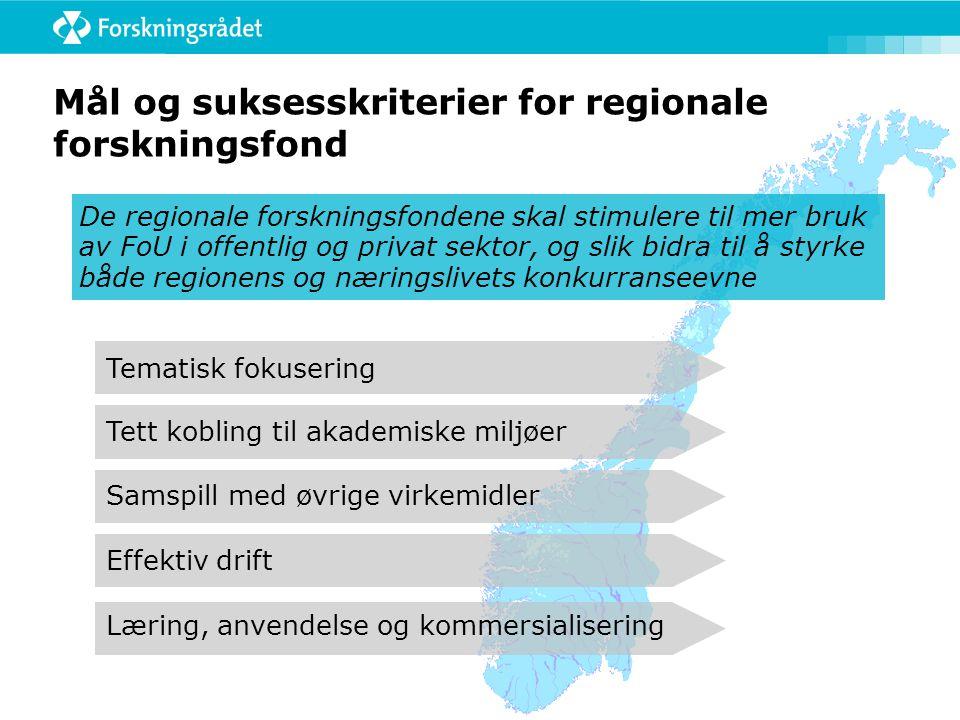 Mål og suksesskriterier for regionale forskningsfond De regionale forskningsfondene skal stimulere til mer bruk av FoU i offentlig og privat sektor, o