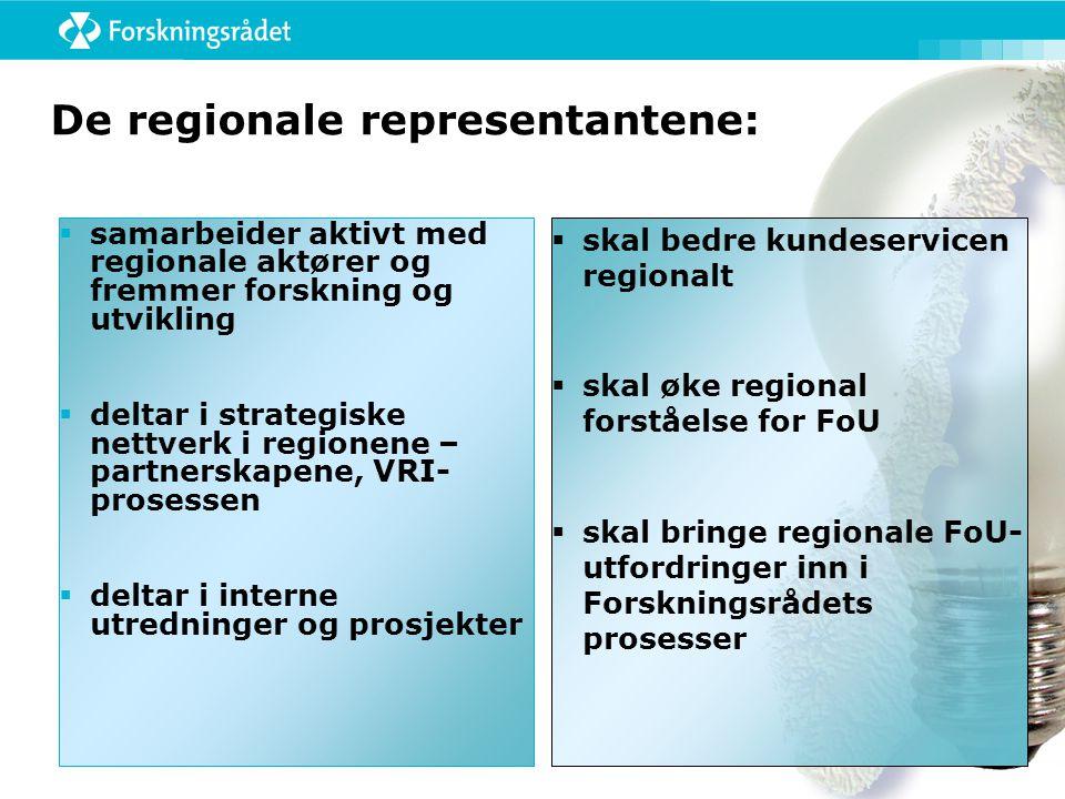 De regionale representantene:  samarbeider aktivt med regionale aktører og fremmer forskning og utvikling  deltar i strategiske nettverk i regionene