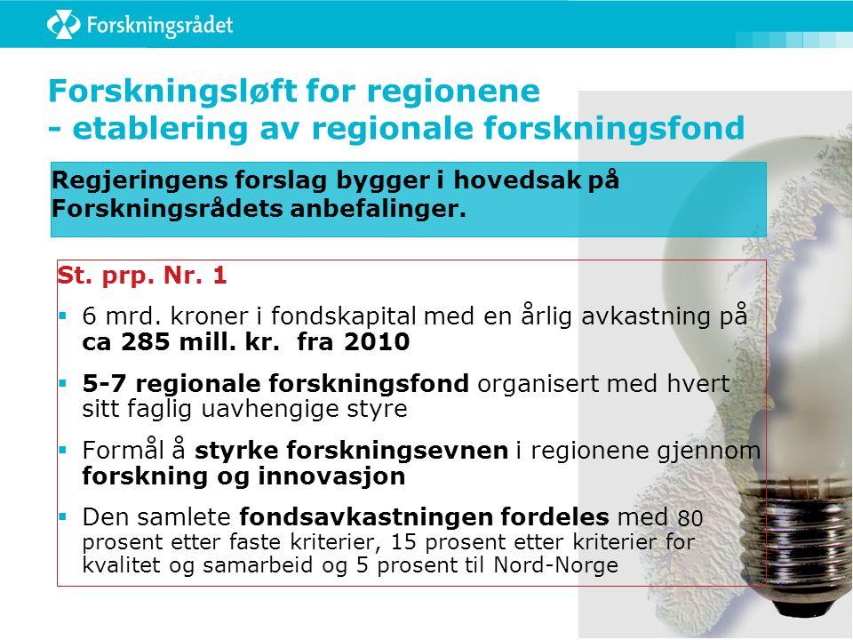 Forskningsløft for regionene - etablering av regionale forskningsfond Regjeringens forslag bygger i hovedsak på Forskningsrådets anbefalinger. St. prp