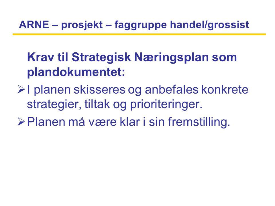 ARNE – prosjekt – faggruppe handel/grossist Krav til Strategisk Næringsplan som plandokumentet:  I planen skisseres og anbefales konkrete strategier, tiltak og prioriteringer.