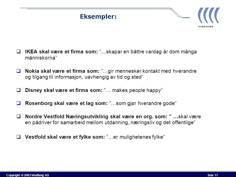"""Copyright © 2003 Vindfang AS Side 17 Eksempler:  IKEA skal være et firma som: """"…skapar en bättre vardag år dom många människorna""""  Nokia skal være e"""
