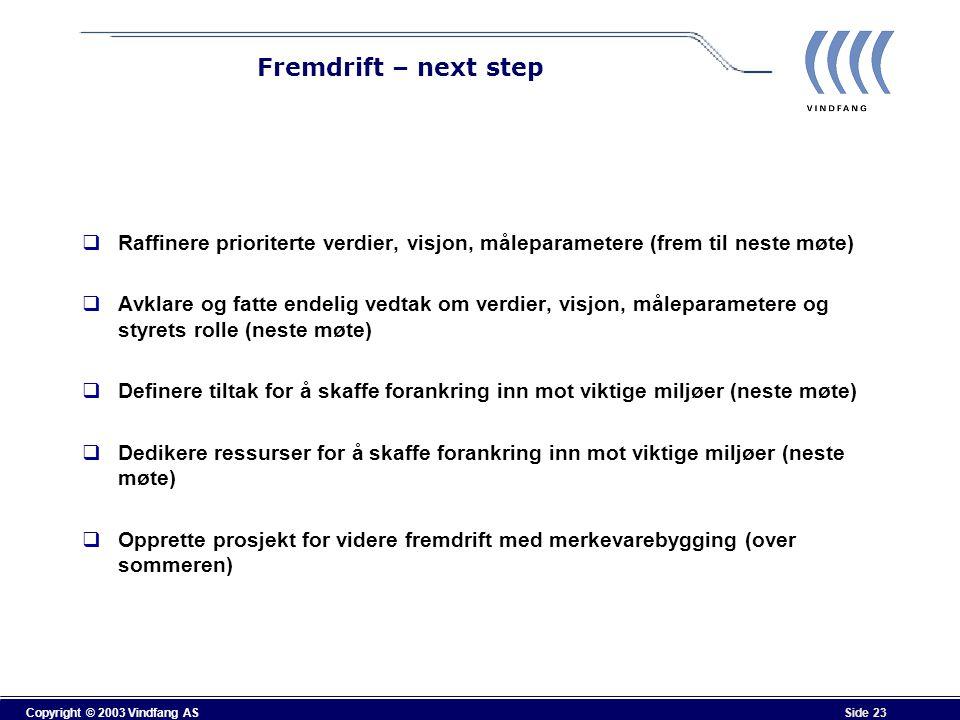 Copyright © 2003 Vindfang AS Side 23 Fremdrift – next step  Raffinere prioriterte verdier, visjon, måleparametere (frem til neste møte)  Avklare og