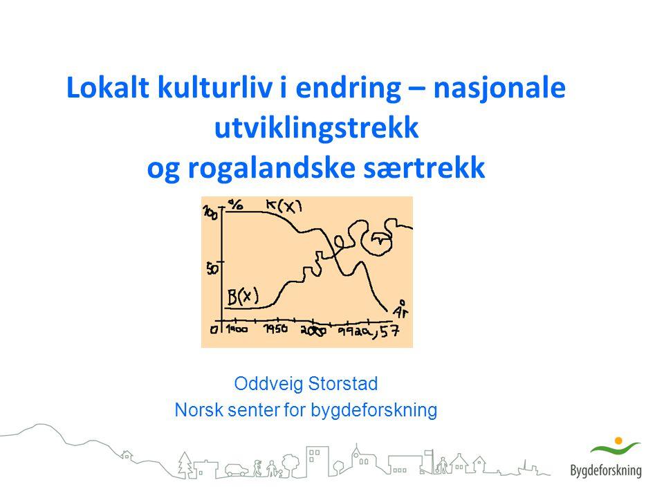 Lokalt kulturliv i endring – nasjonale utviklingstrekk og rogalandske særtrekk Oddveig Storstad Norsk senter for bygdeforskning