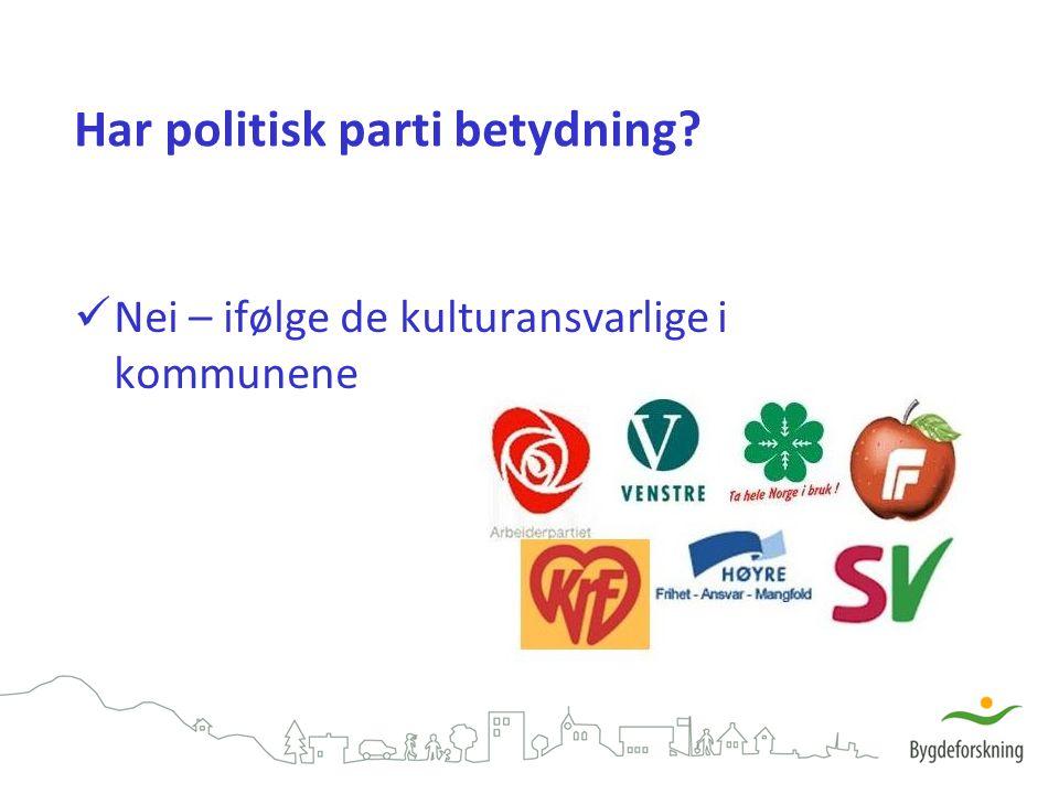 Har politisk parti betydning? Nei – ifølge de kulturansvarlige i kommunene