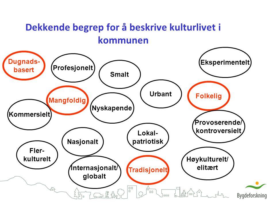 Dekkende begrep for å beskrive kulturlivet i kommunen Mangfoldig Smalt Lokal- patriotisk Nasjonalt Folkelig Høykulturelt/ elitært Dugnads- basert Prof