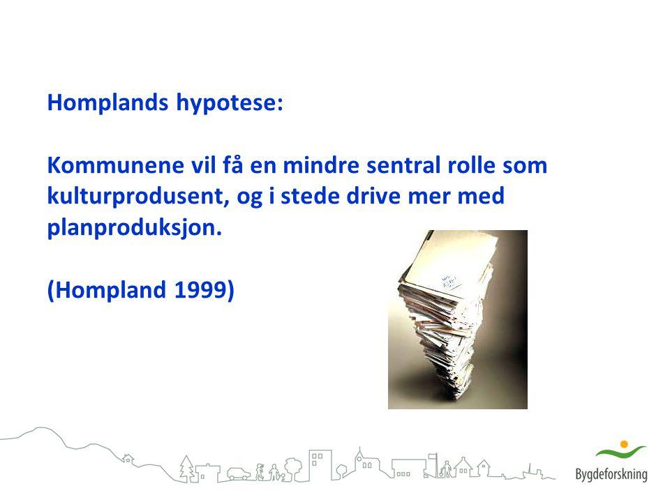 Homplands hypotese: Kommunene vil få en mindre sentral rolle som kulturprodusent, og i stede drive mer med planproduksjon. (Hompland 1999)