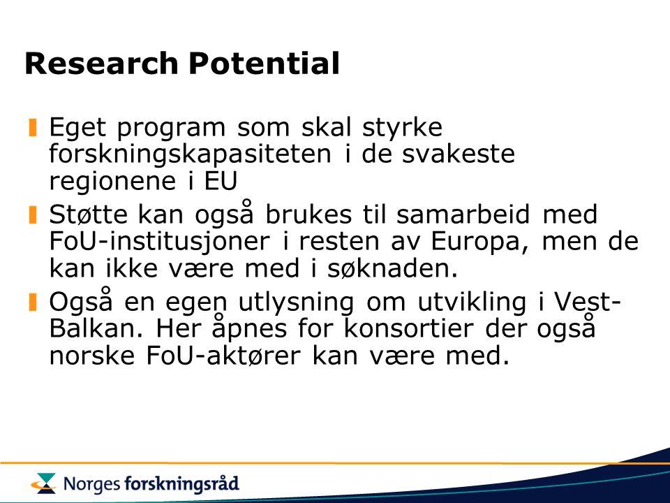 Research Potential Eget program som skal styrke forskningskapasiteten i de svakeste regionene i EU Støtte kan også brukes til samarbeid med FoU-institusjoner i resten av Europa, men de kan ikke være med i søknaden.