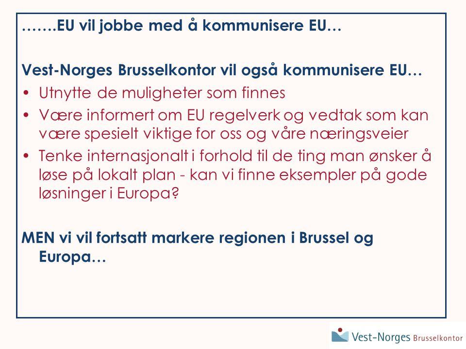 …….EU vil jobbe med å kommunisere EU… Vest-Norges Brusselkontor vil også kommunisere EU… Utnytte de muligheter som finnes Være informert om EU regelverk og vedtak som kan være spesielt viktige for oss og våre næringsveier Tenke internasjonalt i forhold til de ting man ønsker å løse på lokalt plan - kan vi finne eksempler på gode løsninger i Europa.