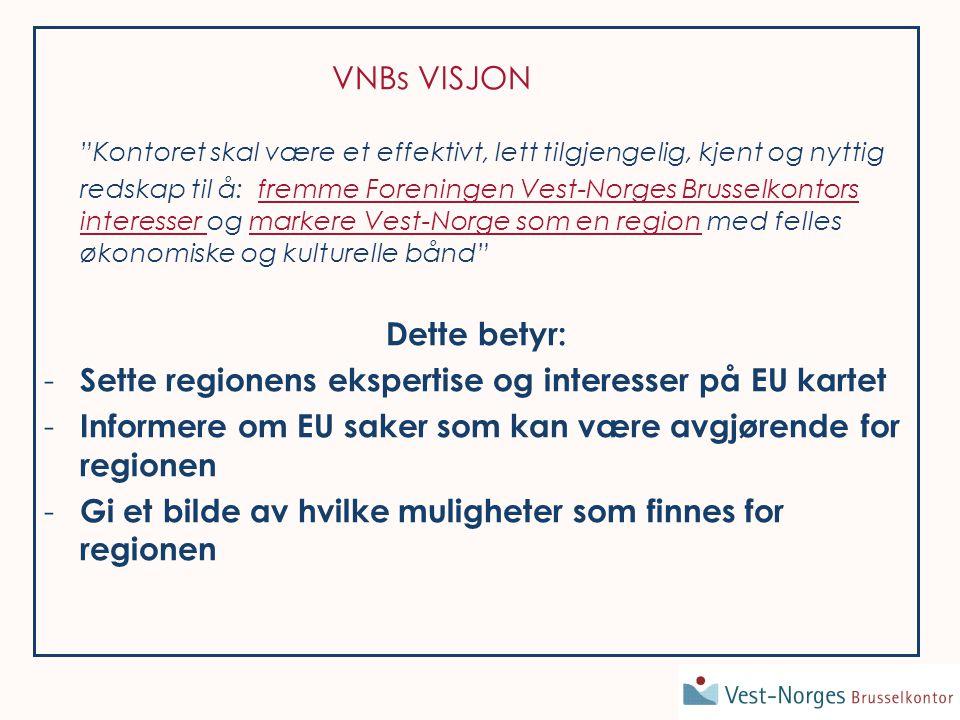 VNBs VISJON Kontoret skal være et effektivt, lett tilgjengelig, kjent og nyttig redskap til å: fremme Foreningen Vest-Norges Brusselkontors interesser og markere Vest-Norge som en region med felles økonomiske og kulturelle bånd Dette betyr: - Sette regionens ekspertise og interesser på EU kartet - Informere om EU saker som kan være avgjørende for regionen - Gi et bilde av hvilke muligheter som finnes for regionen
