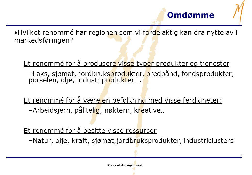 Markedsføringshuset 13 Omdømme Hvilket renommé har regionen som vi fordelaktig kan dra nytte av i markedsføringen? Et renommé for å produsere visse ty