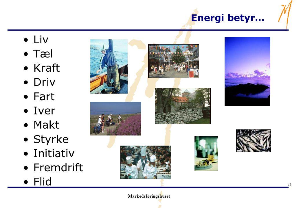 Markedsføringshuset 21 Energi betyr… Liv Tæl Kraft Driv Fart Iver Makt Styrke Initiativ Fremdrift Flid