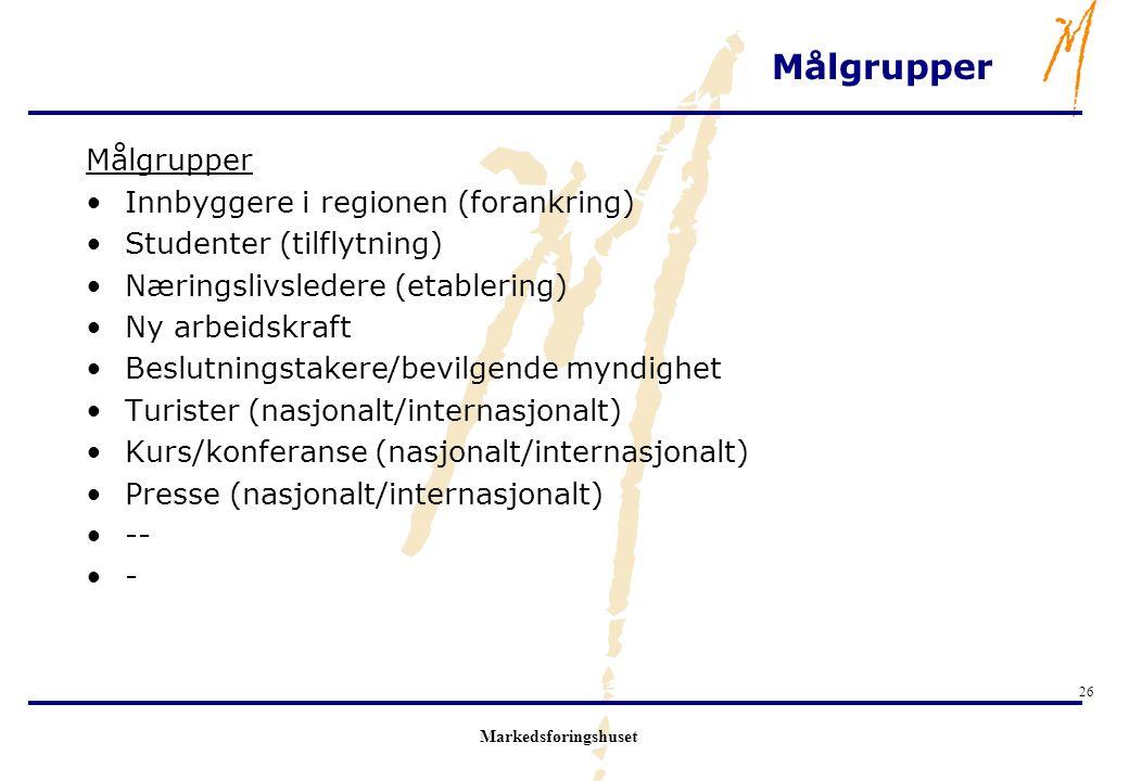 Markedsføringshuset 26 Målgrupper Innbyggere i regionen (forankring) Studenter (tilflytning) Næringslivsledere (etablering) Ny arbeidskraft Beslutning