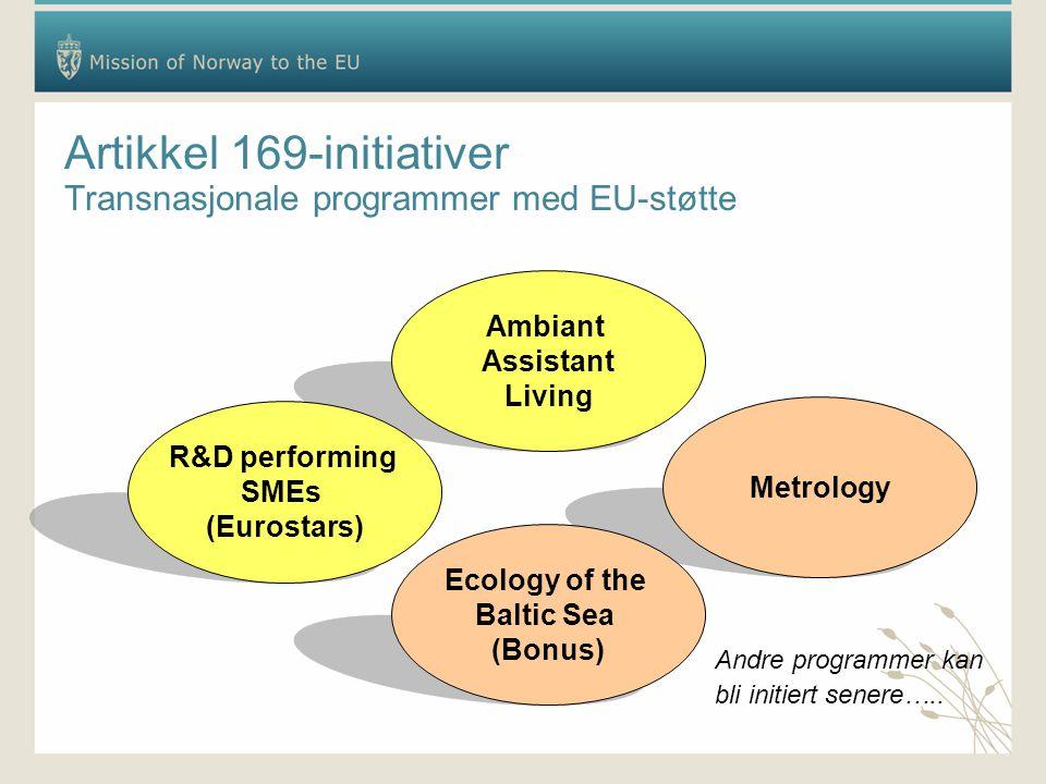 Artikkel 169-initiativer Transnasjonale programmer med EU-støtte Metrology Ecology of the Baltic Sea (Bonus) Ambiant Assistant Living R&D performing SMEs (Eurostars) Andre programmer kan bli initiert senere…..