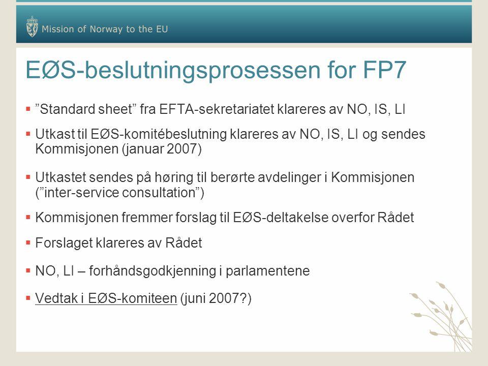 EØS-beslutningsprosessen for FP7  Standard sheet fra EFTA-sekretariatet klareres av NO, IS, LI  Utkast til EØS-komitébeslutning klareres av NO, IS, LI og sendes Kommisjonen (januar 2007)  Utkastet sendes på høring til berørte avdelinger i Kommisjonen ( inter-service consultation )  Kommisjonen fremmer forslag til EØS-deltakelse overfor Rådet  Forslaget klareres av Rådet  NO, LI – forhåndsgodkjenning i parlamentene  Vedtak i EØS-komiteen (juni 2007 )