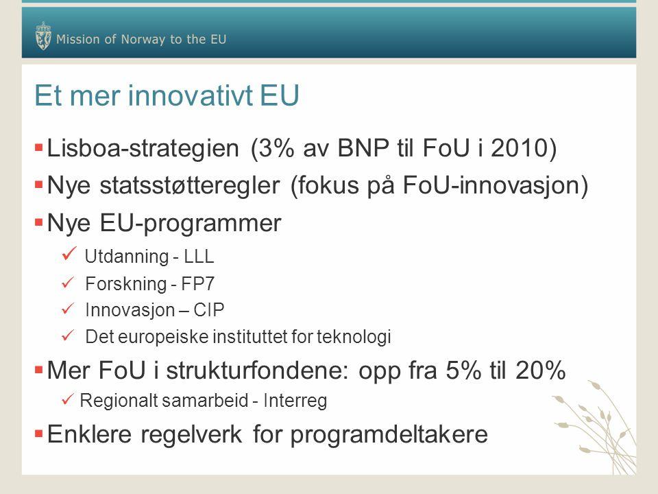 Et mer innovativt EU  Lisboa-strategien (3% av BNP til FoU i 2010)  Nye statsstøtteregler (fokus på FoU-innovasjon)  Nye EU-programmer Utdanning - LLL Forskning - FP7 Innovasjon – CIP Det europeiske instituttet for teknologi  Mer FoU i strukturfondene: opp fra 5% til 20% Regionalt samarbeid - Interreg  Enklere regelverk for programdeltakere