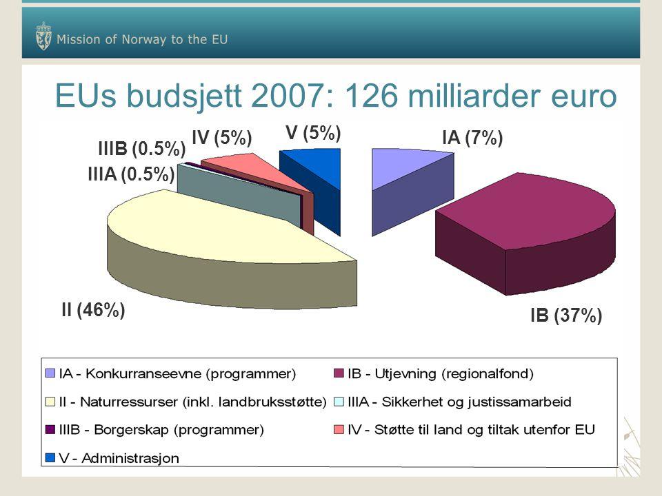 EUs budsjett 2007: 126 milliarder euro IB (37%) IA (7%) II (46%) IIIA (0.5%) IIIB (0.5%) IV (5%) V (5%)