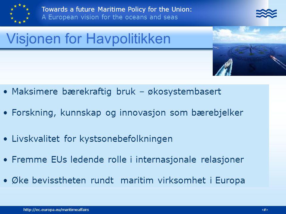 Towards a future Maritime Policy for the Union: A European vision for the oceans and seas 19http://ec.europa.eu/maritimeaffairs Pakkens innhold 40 handlinger noen sentrale Barriere fritt internt marked for maritime transport Utvikle en felles strategi for havner (kristisk node) og retningslinjer for miljøvennlig utvikling Marin maritim forskningsstrategi Hvordan kan EU midler best mulig legge til rette for bærekraft vekst - klynger Studere, forutsi, hindre effektene av klimaendringene Fremme miljøvennlig shipping Fjerne ulovlig fiske, fiskerivirksomhet som ødelegger havbunnen m.m.