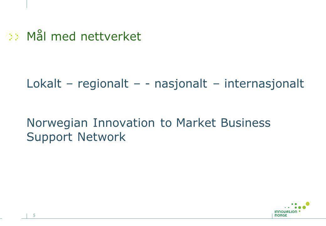 5 Mål med nettverket Lokalt – regionalt – - nasjonalt – internasjonalt Norwegian Innovation to Market Business Support Network