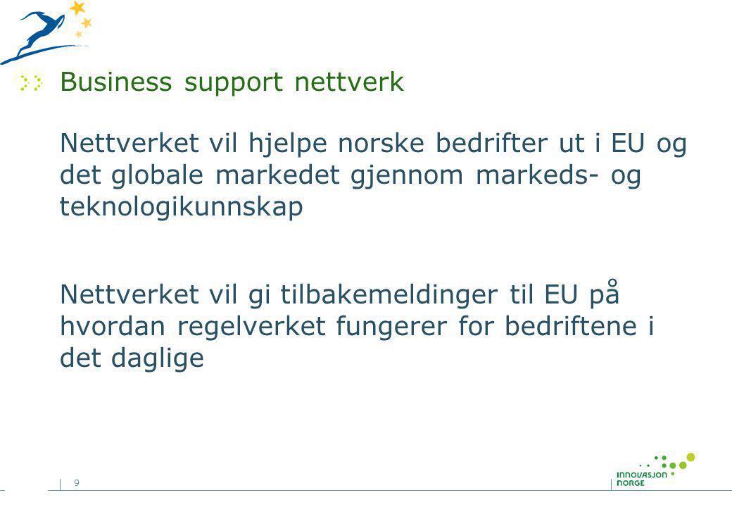 9 Business support nettverk Nettverket vil hjelpe norske bedrifter ut i EU og det globale markedet gjennom markeds- og teknologikunnskap Nettverket vil gi tilbakemeldinger til EU på hvordan regelverket fungerer for bedriftene i det daglige