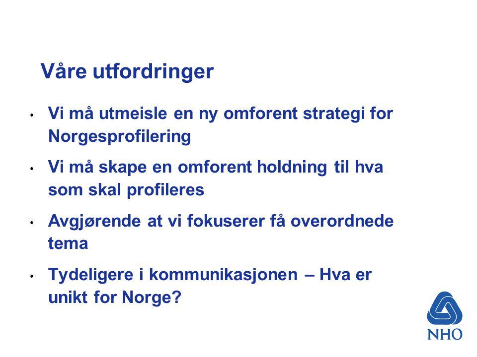 Våre utfordringer Vi må utmeisle en ny omforent strategi for Norgesprofilering Vi må skape en omforent holdning til hva som skal profileres Avgjørende at vi fokuserer få overordnede tema Tydeligere i kommunikasjonen – Hva er unikt for Norge