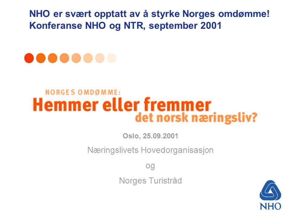 Oslo, 25.09.2001 Næringslivets Hovedorganisasjon og Norges Turistråd NHO er svært opptatt av å styrke Norges omdømme.