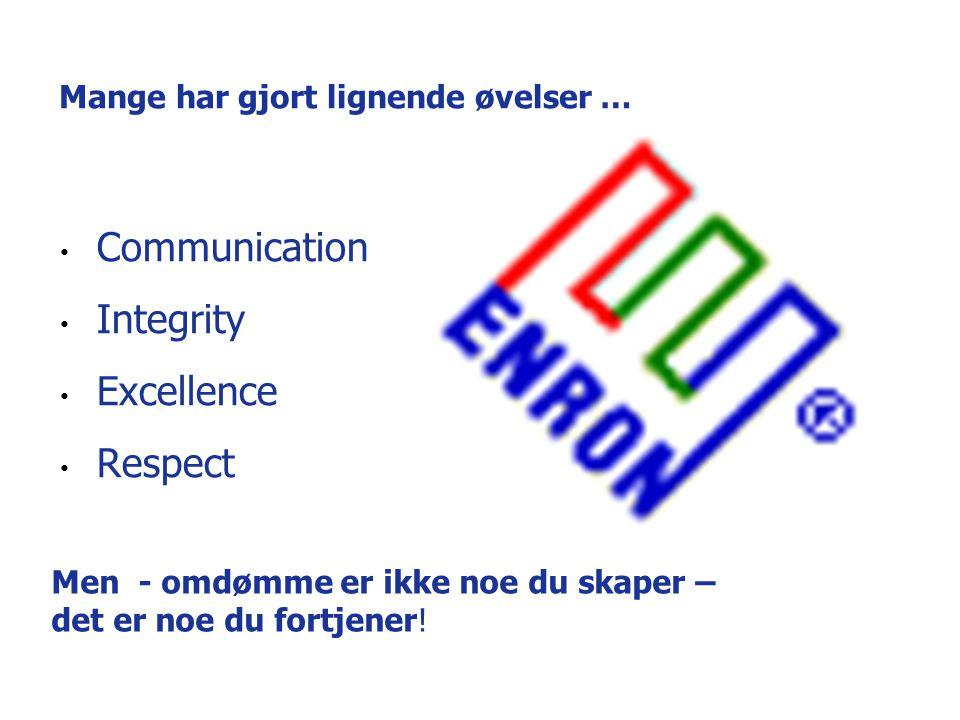 Mange har gjort lignende øvelser … Communication Integrity Excellence Respect Men - omdømme er ikke noe du skaper – det er noe du fortjener!