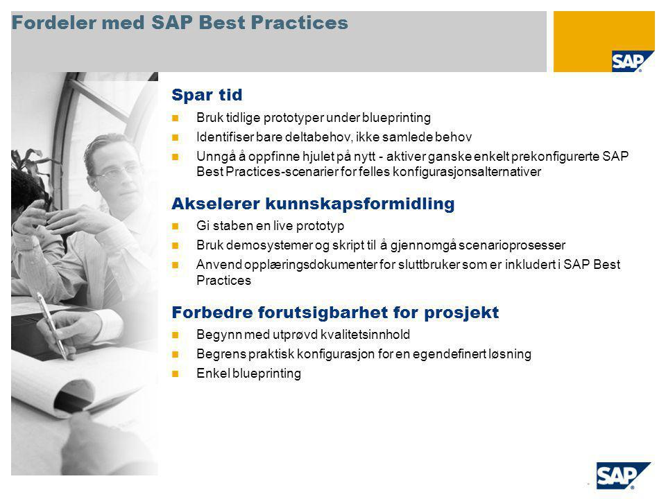 Fordeler med SAP Best Practices Spar tid Bruk tidlige prototyper under blueprinting Identifiser bare deltabehov, ikke samlede behov Unngå å oppfinne hjulet på nytt - aktiver ganske enkelt prekonfigurerte SAP Best Practices-scenarier for felles konfigurasjonsalternativer Akselerer kunnskapsformidling Gi staben en live prototyp Bruk demosystemer og skript til å gjennomgå scenarioprosesser Anvend opplæringsdokumenter for sluttbruker som er inkludert i SAP Best Practices Forbedre forutsigbarhet for prosjekt Begynn med utprøvd kvalitetsinnhold Begrens praktisk konfigurasjon for en egendefinert løsning Enkel blueprinting