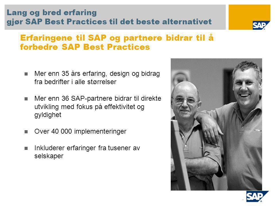 Prototyp / konseptgodkjenning Rask forhåndsvisning og forståelse av SAP-applikasjoner og - prosesser Referansesystem Hurtig oppsett og fremskynding av blueprinting og definisjon av løsningsomfang Startpunkt Oppfyller i gjennomsnitt 30 % til 80 % av krav til mellomstore bedrifter Tilføy flere nødvendige behov gjennom prosjekttiden Mikrovertikal SAP All-in-One Bruk SAP-partnere og SAP Best Practices-bransjetilbud for å oppfylle underbransjebehov Utrulling til datterselskaper Fremskynd utrulling av SAP til datterselskaper i ulike regioner eller bransjer SAP Best Practices brukes i en rekke ulike prosjekter