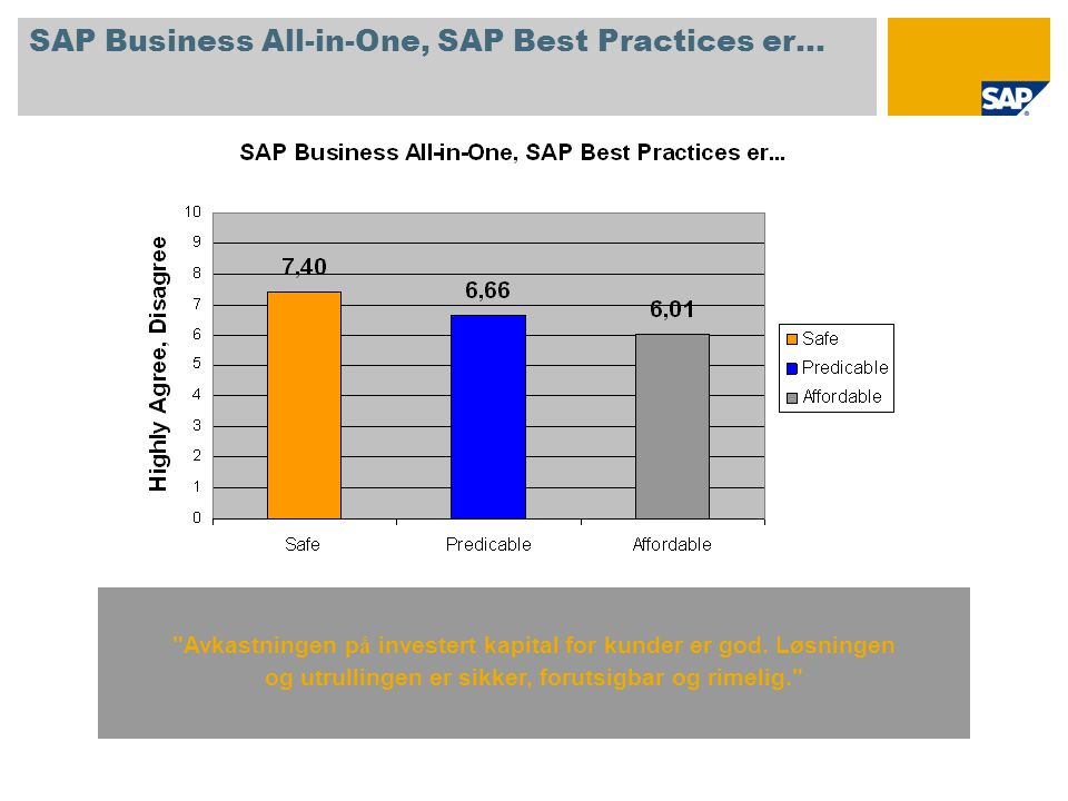 SAP Business All-in-One, SAP Best Practices er… Avkastningen p å investert kapital for kunder er god.