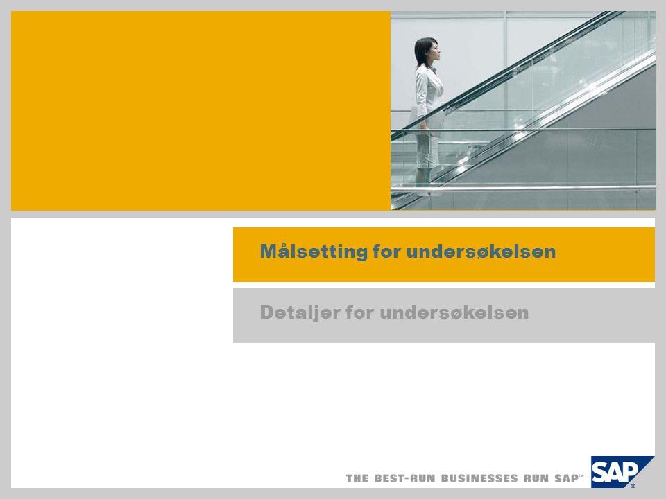 Resultater av undersøkelsen Metode og evalueringsprosedyre Spørreskjema med utgangspunkt i studie fra 2004/2005 med påfølgende telefonintervjuer Formål: evaluere innvirkningen av SAP Business All-in-One, SAP Best Practices på salg og implementeringsprosjekt samt innvirkningen av produktivisering.