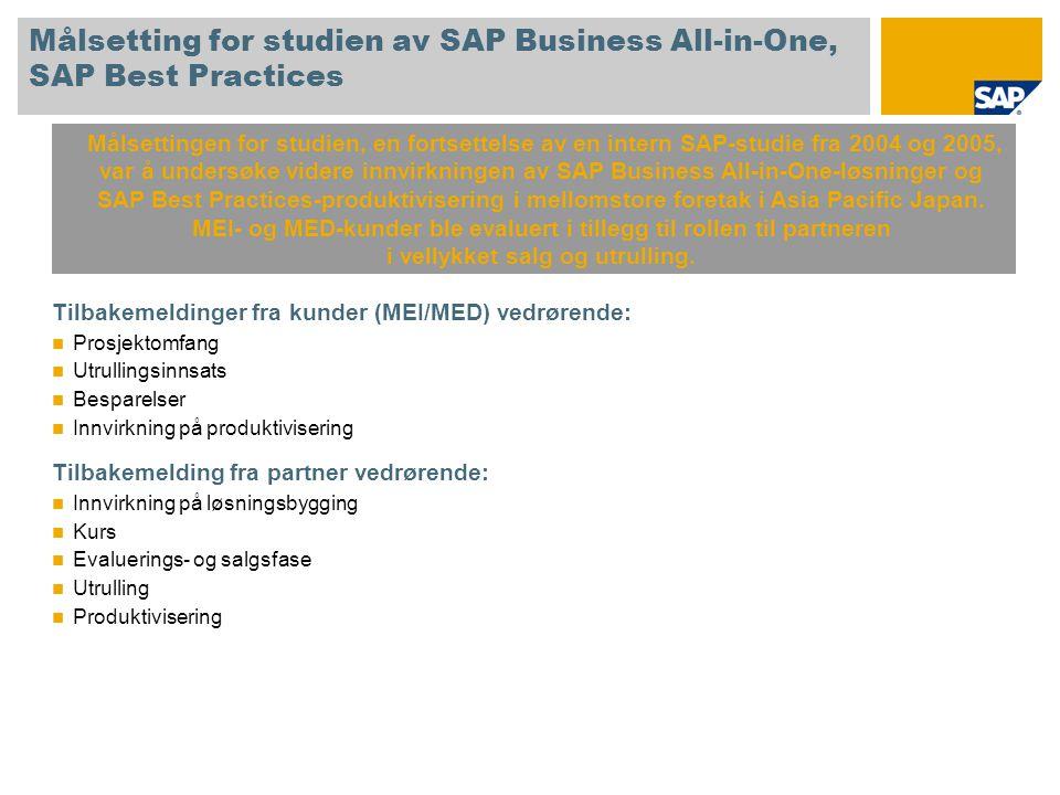 Målsetting for studien av SAP Business All-in-One, SAP Best Practices Tilbakemeldinger fra kunder (MEI/MED) vedrørende: Prosjektomfang Utrullingsinnsa
