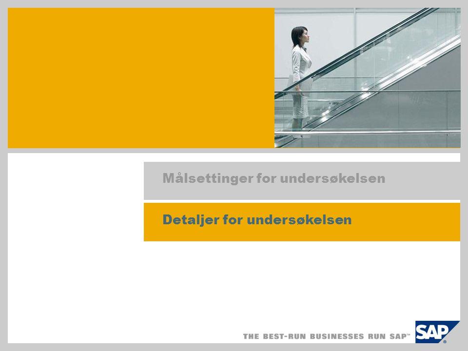 Hovedpunkter i undersøkelsen Hovedpunkter 100 % av svarpersoner bekrefter at SAP Business All-in-One, SAP Best Practices er:  Veletablert og stabil  Lett å tilpasse  Gir sikre, forutsigbare og rimelige utrullinger.