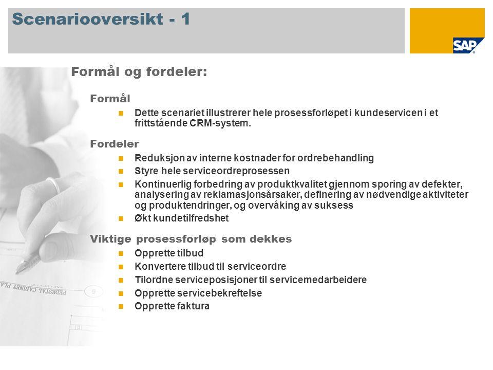 Scenariooversikt - 2 Obligatorisk SAP CRM 7.0 Firmaroller involvert i prosessforløp Servicemedarbeider Servicesjef Servicetekniker SAP-applikasjoner som kreves: