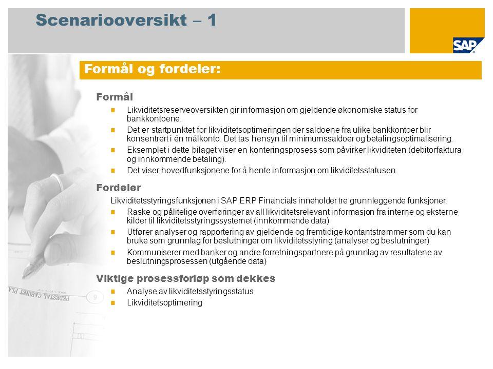 Scenariooversikt – 1 Formål Likviditetsreserveoversikten gir informasjon om gjeldende økonomiske status for bankkontoene. Det er startpunktet for likv