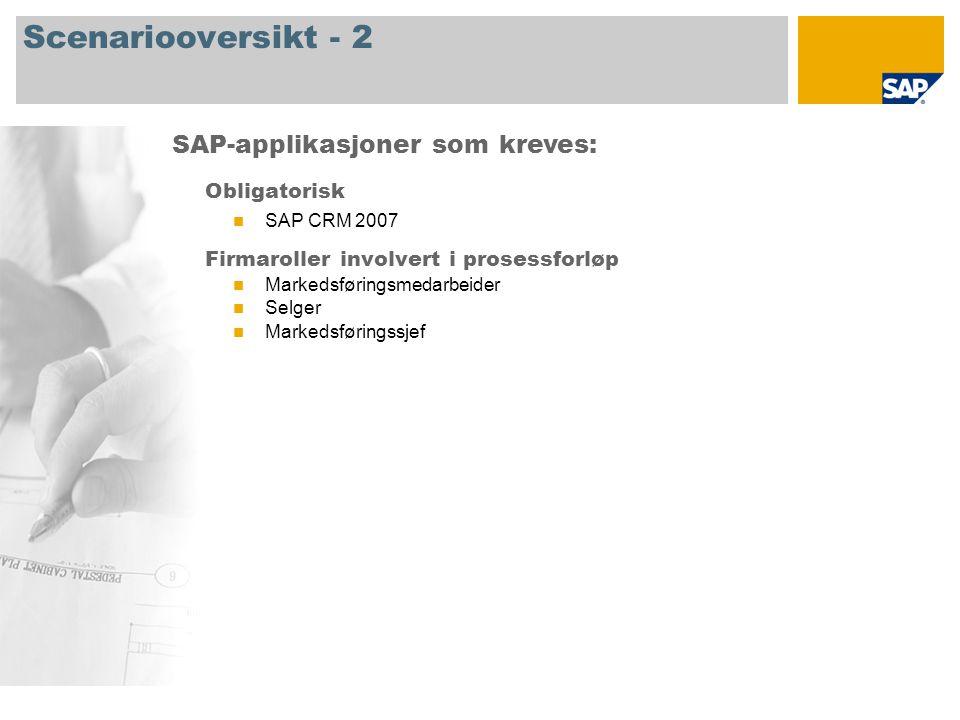 Scenariooversikt - 2 Obligatorisk SAP CRM 2007 Firmaroller involvert i prosessforløp Markedsføringsmedarbeider Selger Markedsføringssjef SAP-applikasjoner som kreves:
