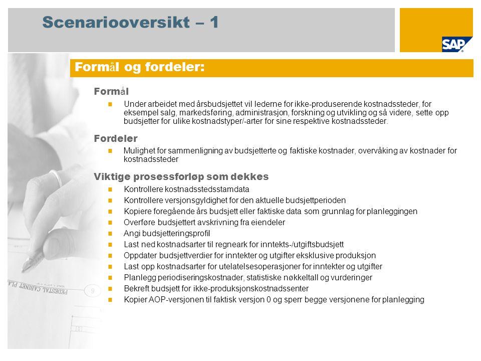Scenariooversikt – 2 Obligatorisk SAP enhancement package 4 for SAP ERP 6.0 Brukerroller involvert i prosessforl ø p Kostnadscontroller Kostnadsstedsleder SAP-applikasjoner som kreves: