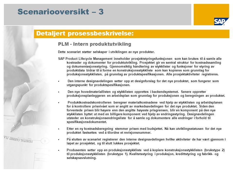 Scenariooversikt – 3 Detaljert prosessbeskrivelse: PLM - Intern produktutvikling Dette scenariet støtter selskaper i utviklingen av nye produkter.