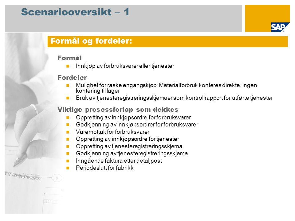 Scenariooversikt – 2 Obligatorisk SAP enhancement package 4 for SAP ERP 6.0 Brukerroller involvert i prosessforløp Innkjøper Innkjøpssjef Lagersjef Servicemedarbeider Regnskapsfører for kreditorreskontro SAP-applikasjoner som kreves: