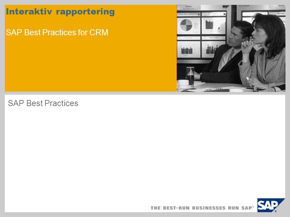 Scenariooversikt - 1 Formål Dette scenariet beskriver hvordan du konfigurerer CRM-systemet for å kunne vise rapporter innen markedsføring, salg og service.