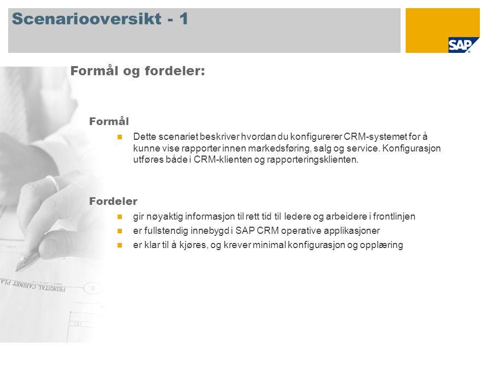 Scenariooversikt - 2 Obligatorisk SAP CRM 7.0 Involverte firmaroller Forretningsbruker ansvarlig for dataanalyse SAP-applikasjoner som kreves: Hovedrapportene er beskrevet i følgende lysbilder for å gi deg en oversikt over scenariet som er presentert i dette dokumentet.