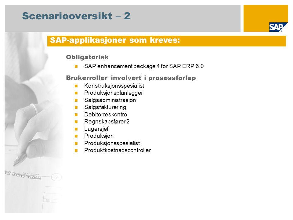 Scenariooversikt – 2 Obligatorisk SAP enhancement package 4 for SAP ERP 6.0 Brukerroller involvert i prosessforløp Konstruksjonsspesialist Produksjonsplanlegger Salgsadministrasjon Salgsfakturering Debitorreskontro Regnskapsfører 2 Lagersjef Produksjon Produksjonsspesialist Produktkostnadscontroller SAP-applikasjoner som kreves: