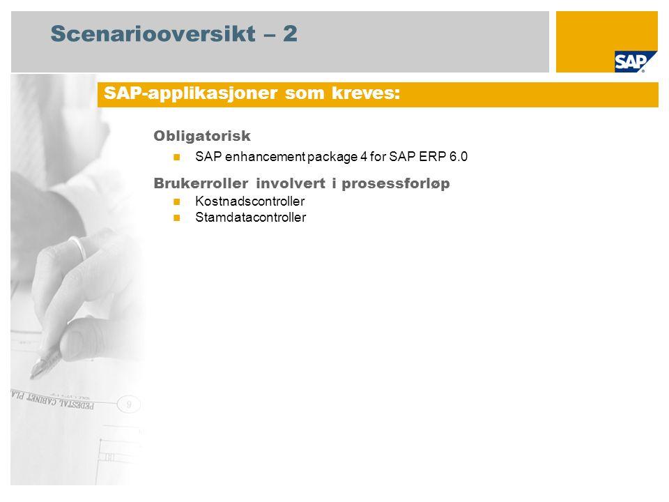 Scenariooversikt – 2 Obligatorisk SAP enhancement package 4 for SAP ERP 6.0 Brukerroller involvert i prosessforløp Kostnadscontroller Stamdatacontroller SAP-applikasjoner som kreves: